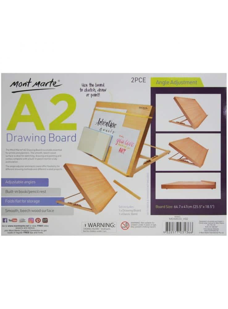 Mont Marte® schetsbord A2 met elastisch band - houten tekenbord