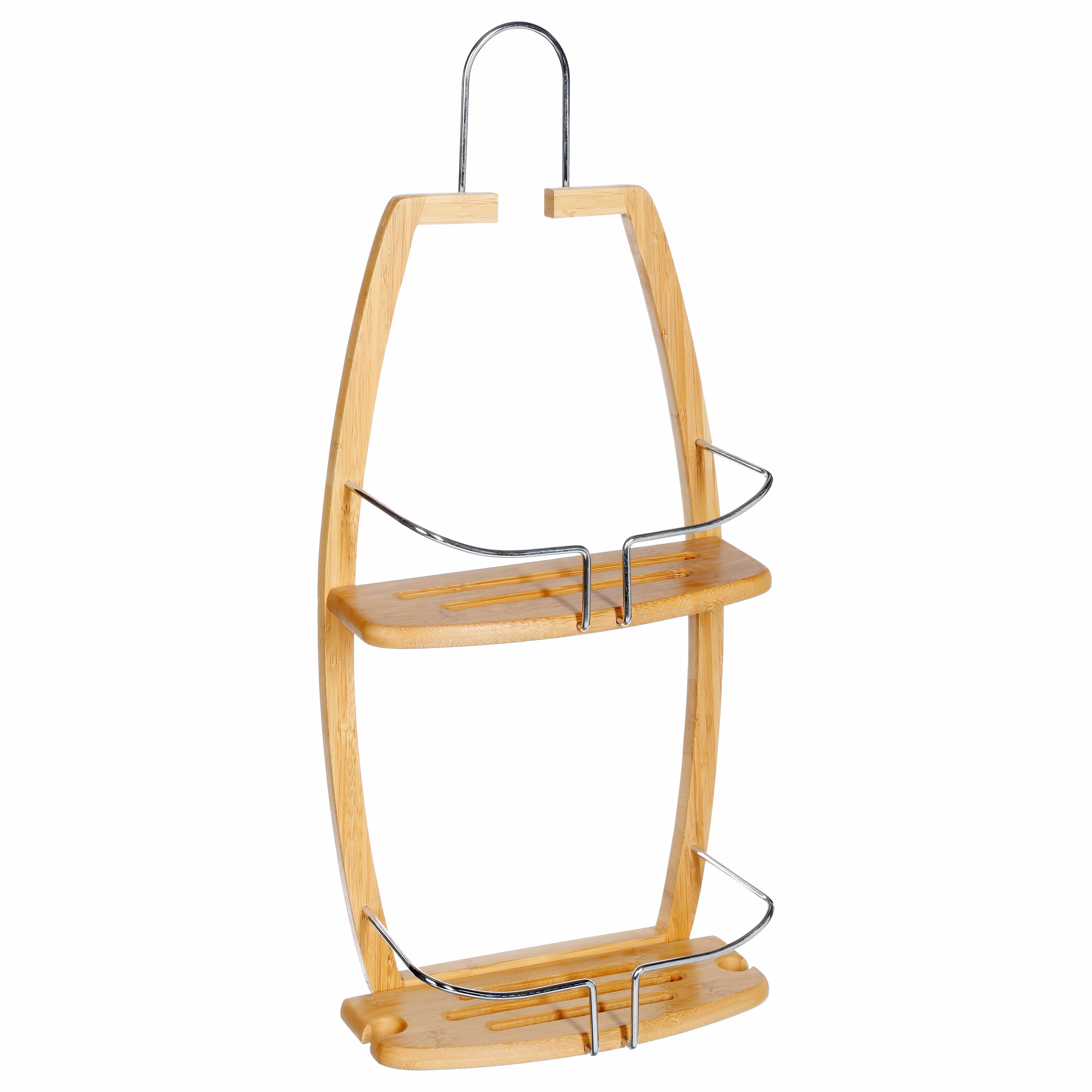4goodz 2-laags hangend doucherek van bamboe met RVS - 12x27x61 cm