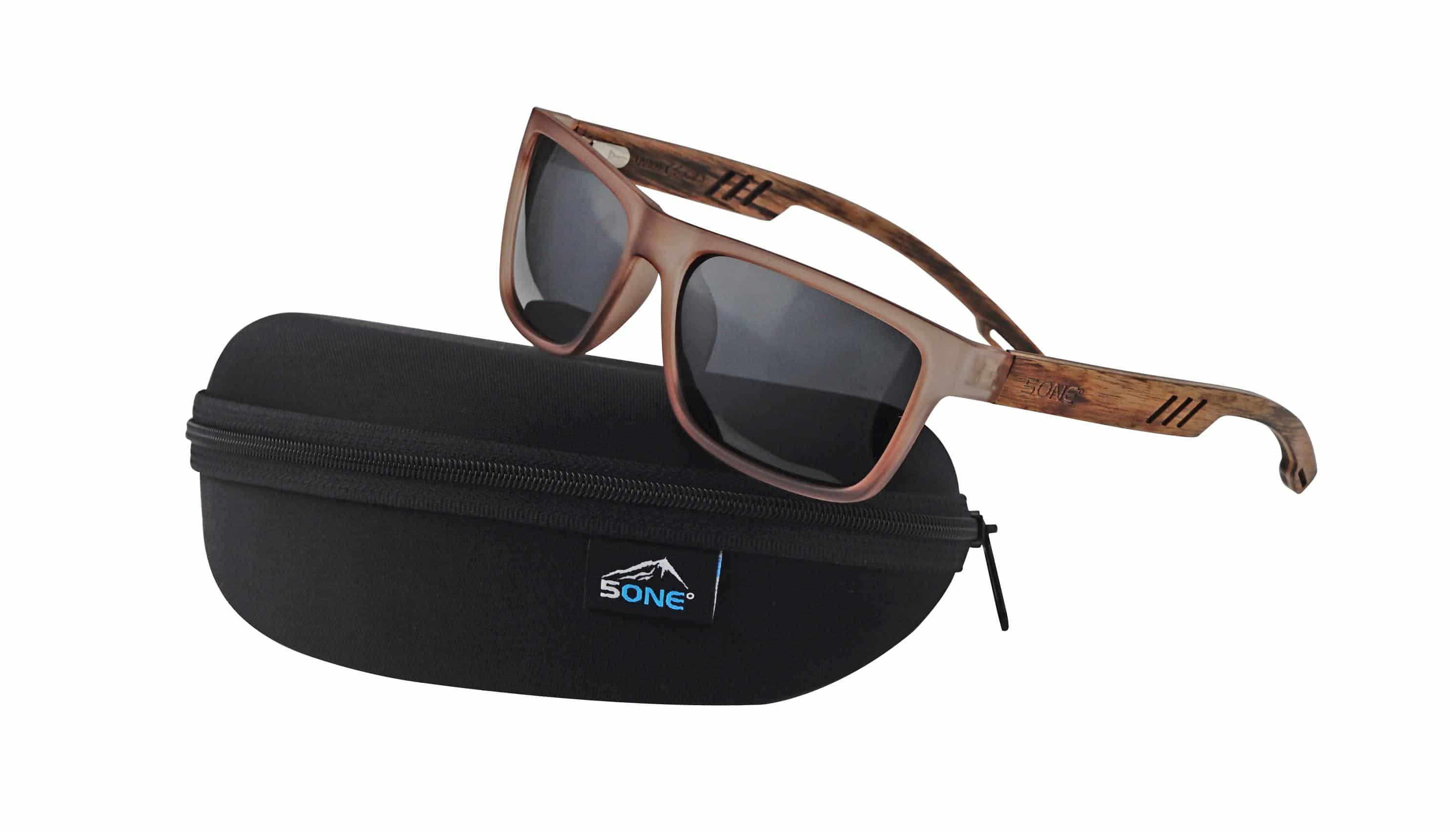 5one® St. Lucia Brown Smoke Matt zonnebril - gestreept hout