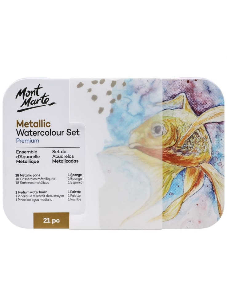 Mont Marte® Premium 21-delige set Waterverf Metallic Kleuren in blik