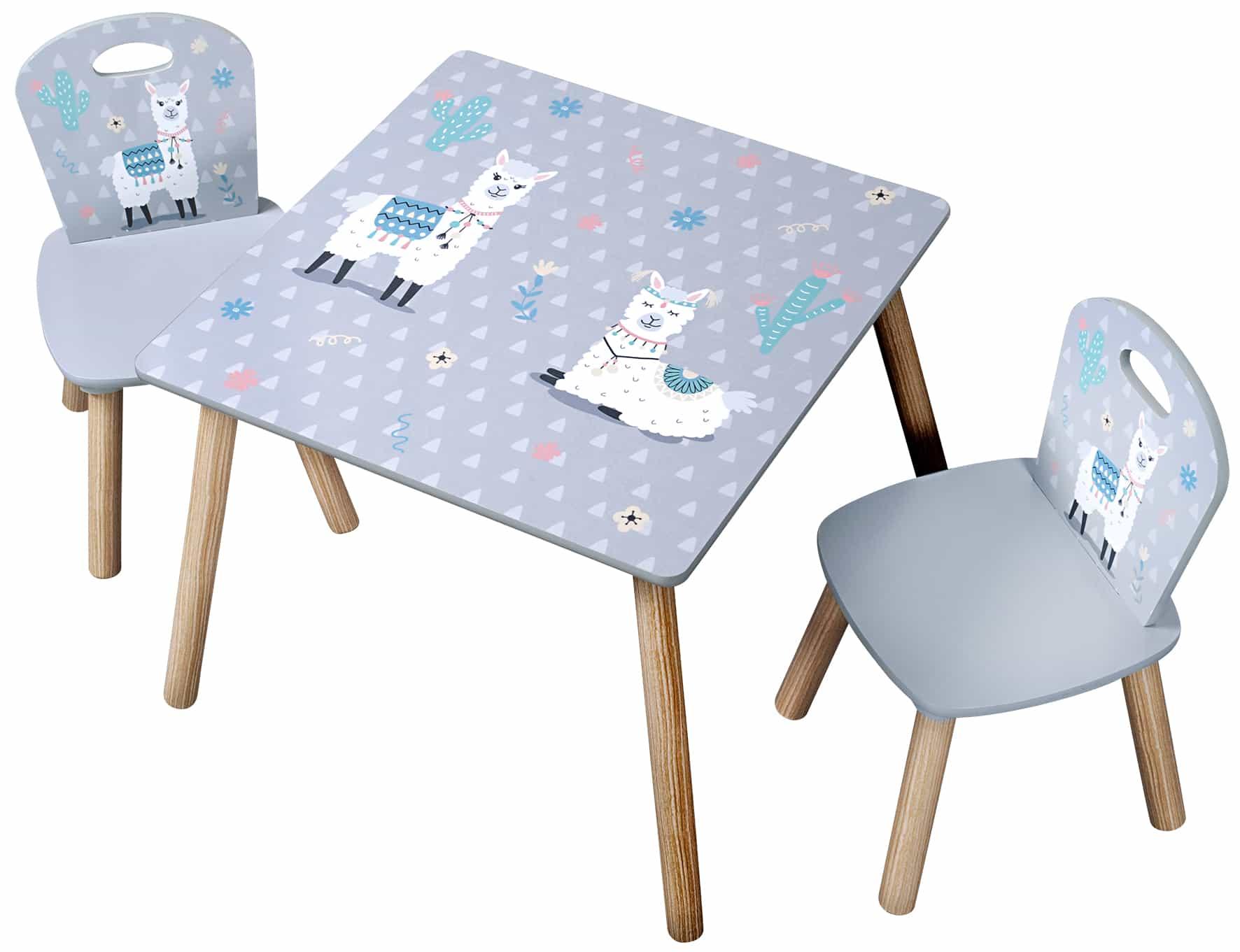 4goodz Stevige Kindertafelset met 2 stoelen Alpaka motief - Grijs