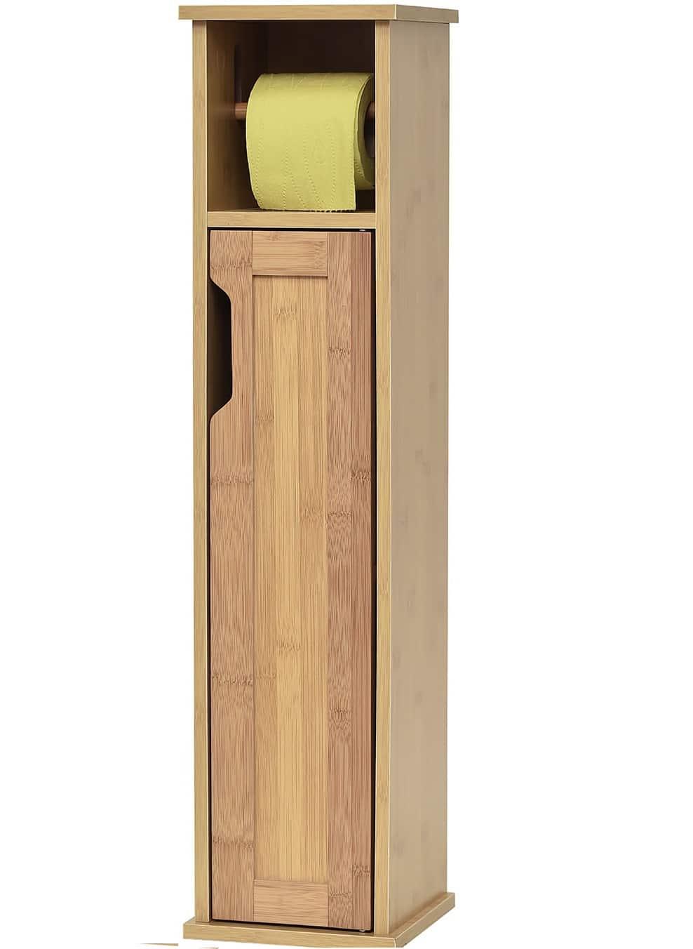 Toiletrolhouder met toiletroldispenser Mahe - 18x18x75 cm - Bruin