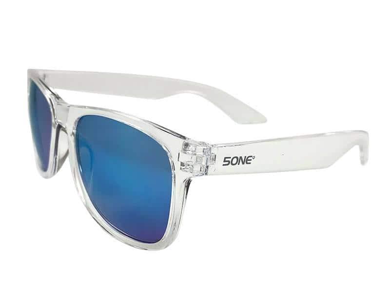 5one® Crystal Blue zonnebril - transparant frame - blauwe spiegellens