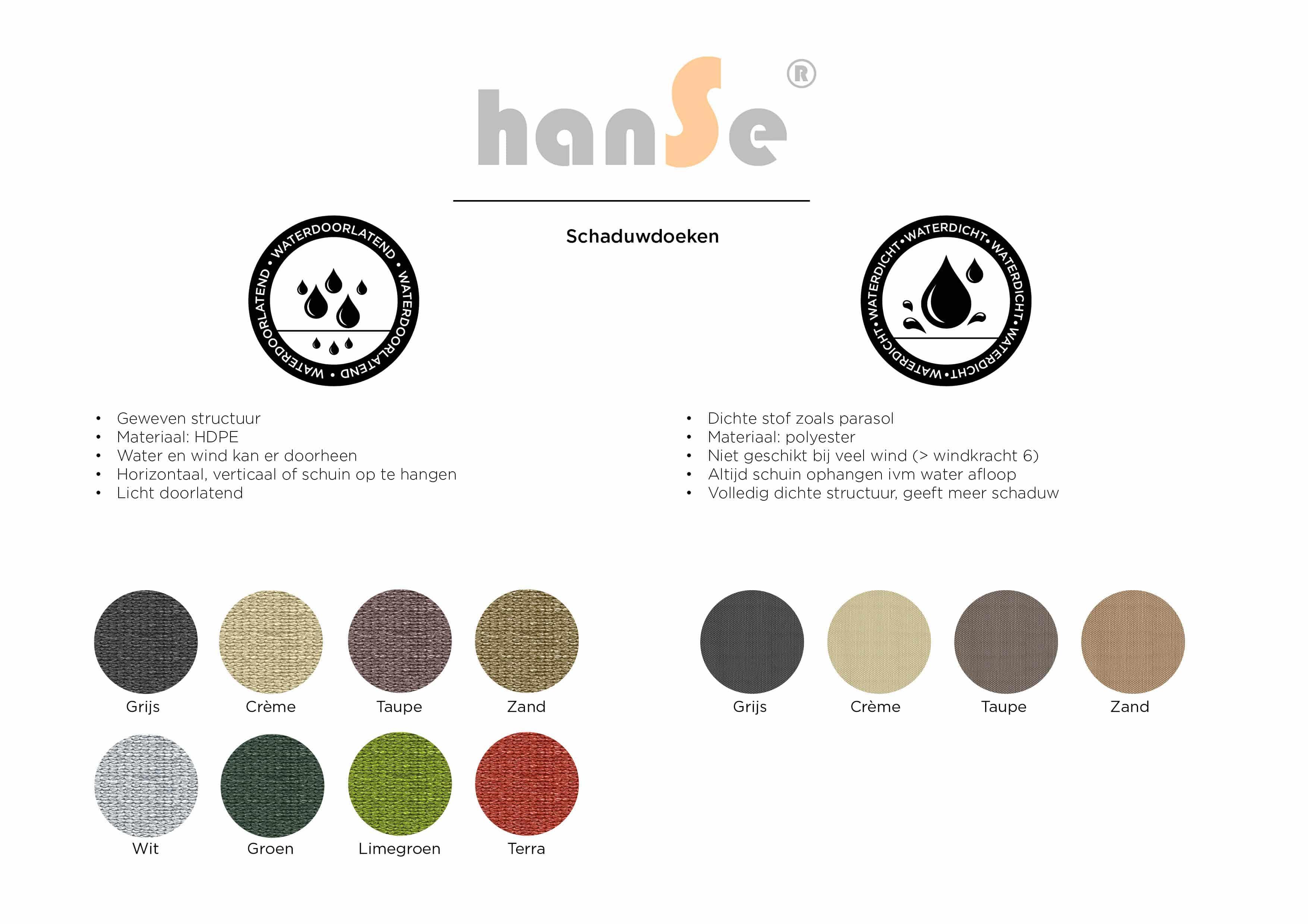 hanSe® Schaduwdoek Vierkant Waterdoorlatend 2x2 m - zonnedoek - Terra