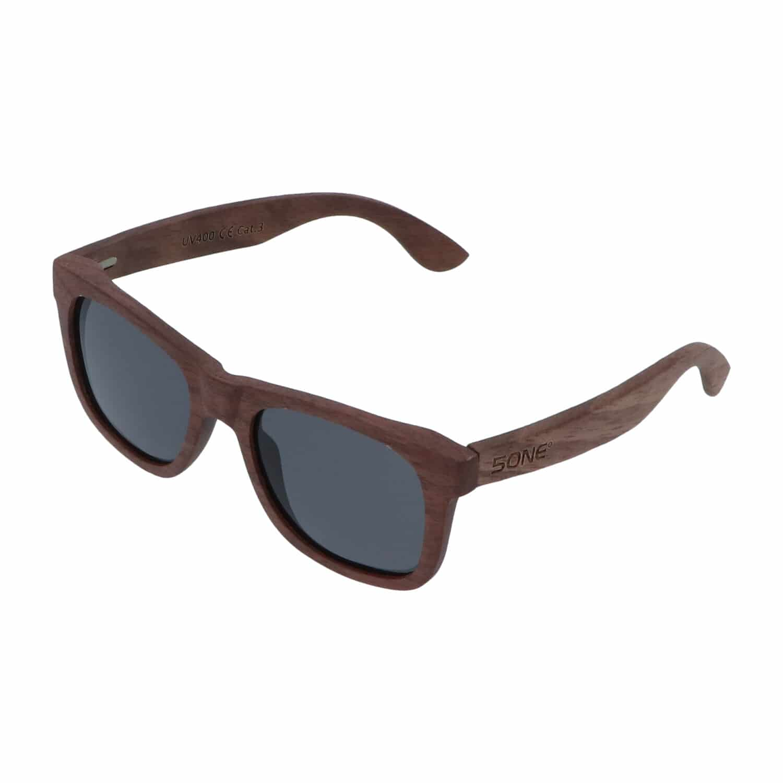 5one® Walnut Grey -Walnoot hout Wayfarer Zonnebril - Grijze lens