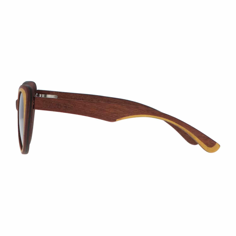 5one® Napoli - Houten Cateye dames zonnebril - grijze lens