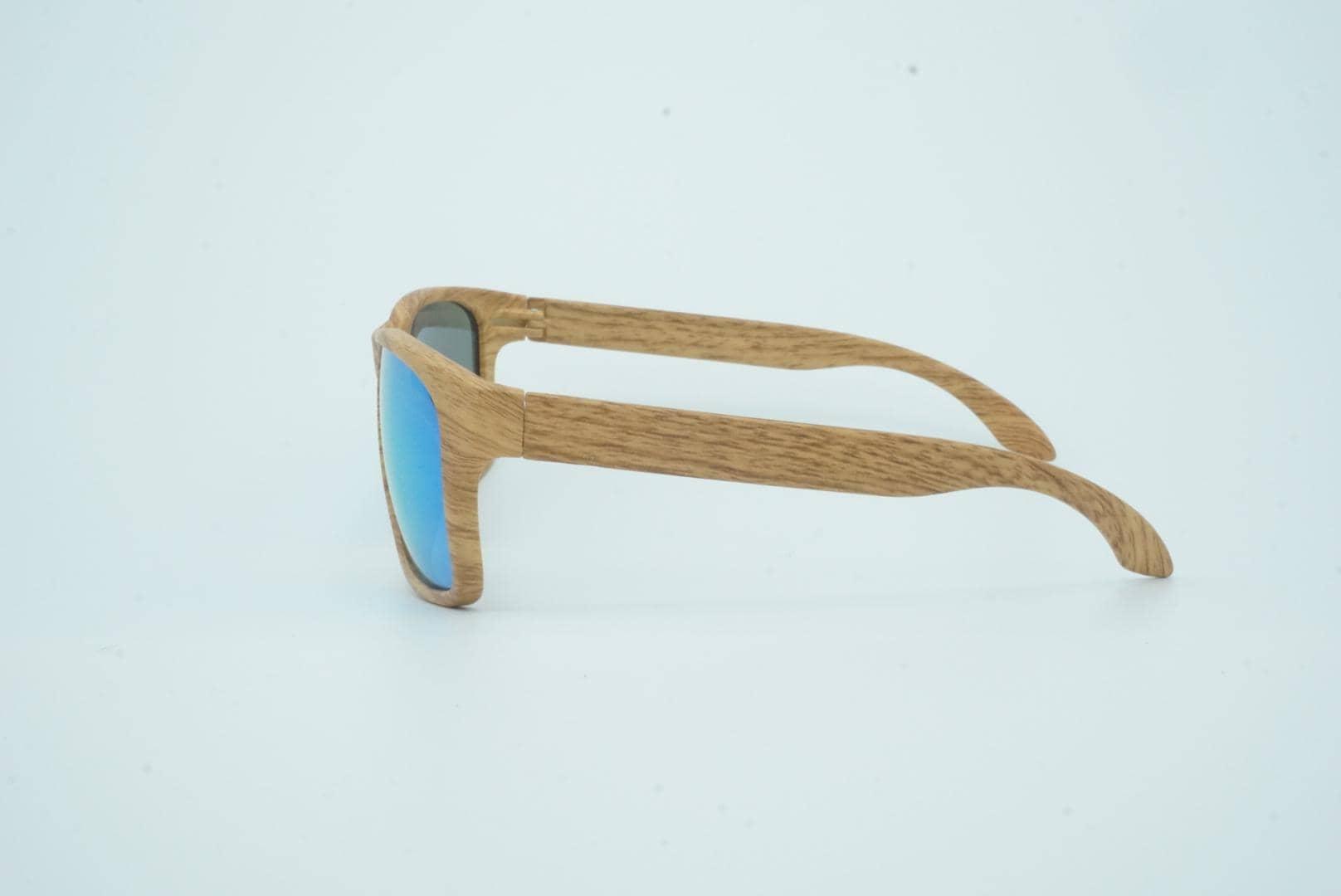 4Goodz Ibiza blue - houtlook wayfarer zonnebril - blauw spiegelglas - Uv400