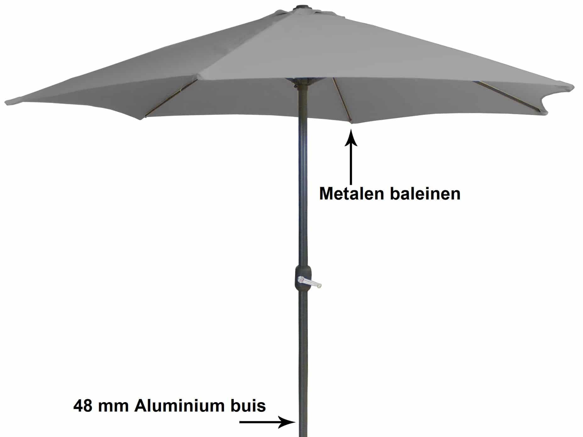 4Goodz Aluminium parasol 300 cm met opdraaimechanisme - Grijs