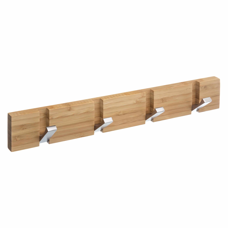 4goodz kapstok bamboe 4 RVS uitklapbare haken - 40x6x2cm