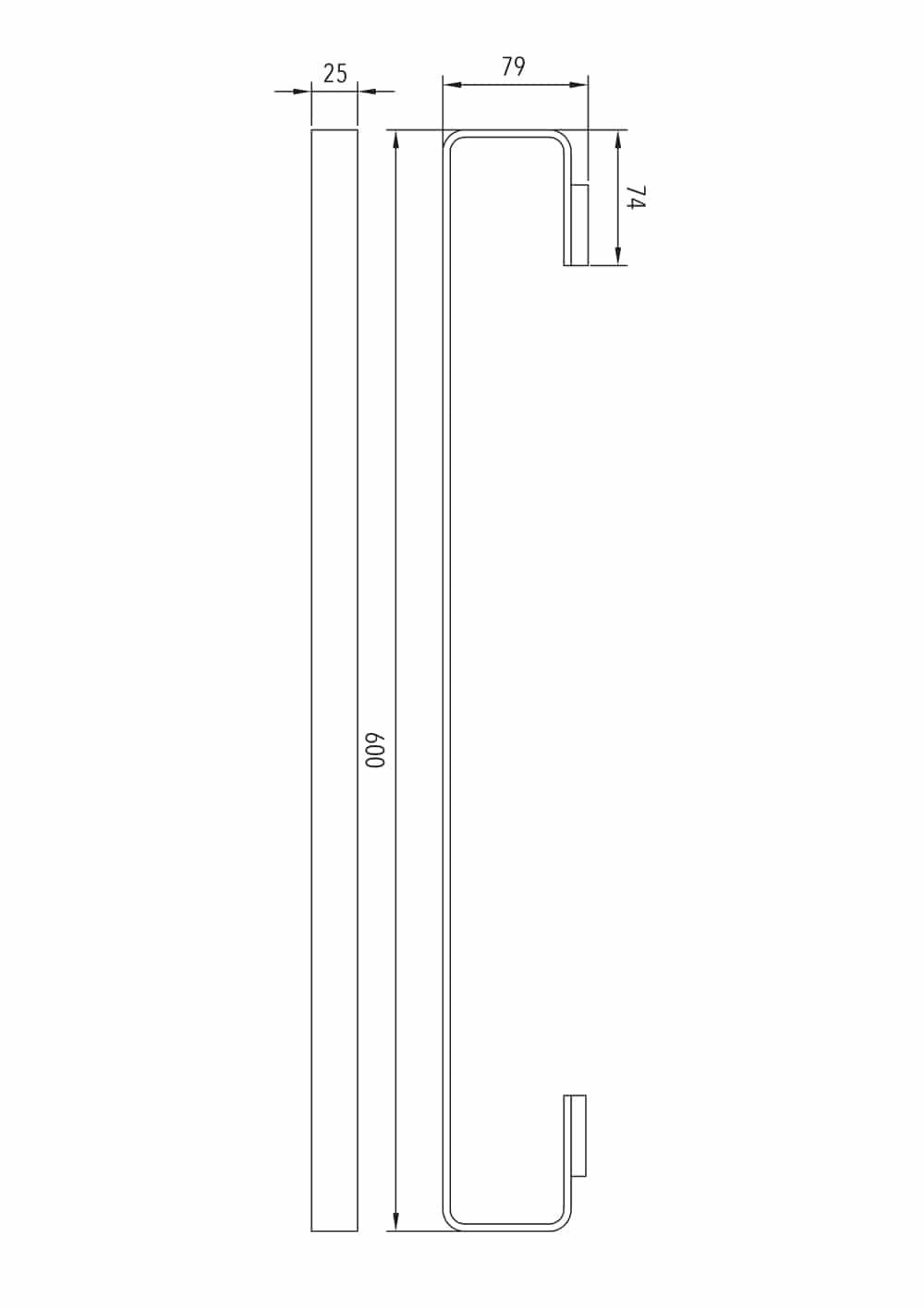 Luzzo® Piazzo Messing Enkel wand Handdoekrek 60cm - chroom