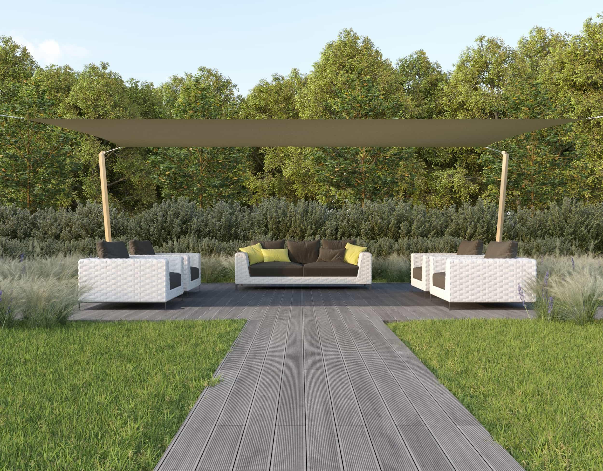 hanSe® Schaduwdoek Rechthoek Waterdoorlatend 5x6 m - zonnedoek - Zand