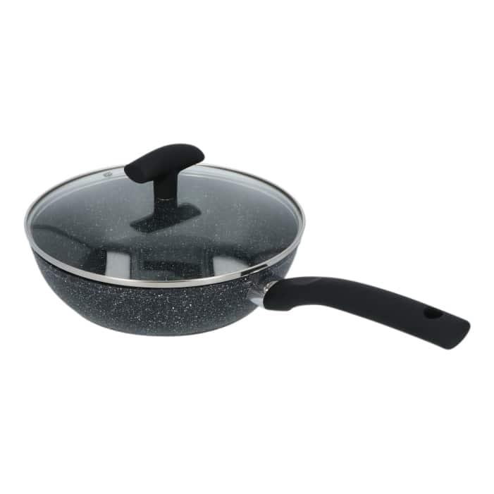 4goodz Wok Lichtgewicht Aluminium met deksel 24 cm - wok met steel