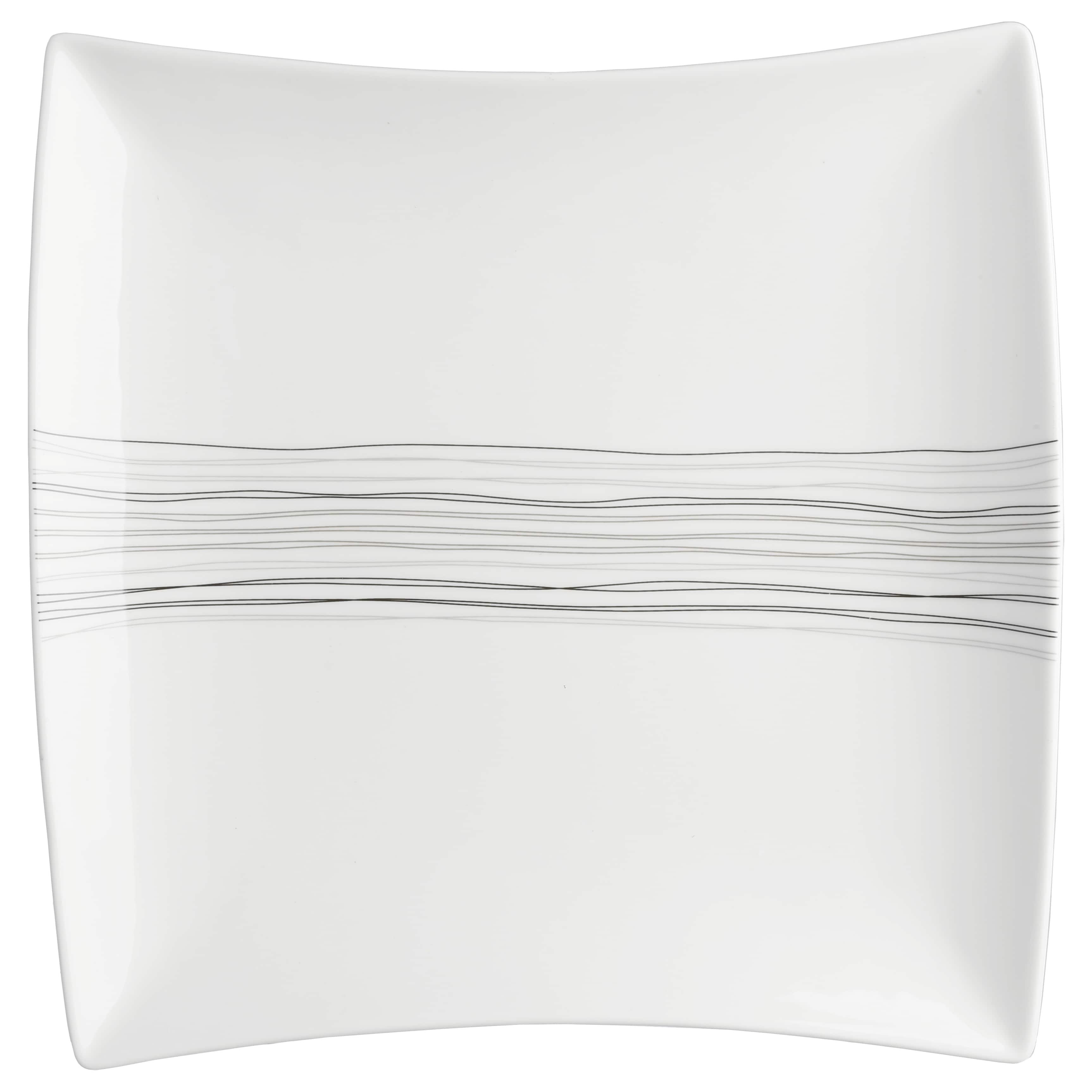 4goodz Lines set 6x Porseleinen Dinerborden XL Vierkant 29x27 cm - Wit