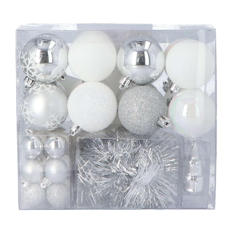 4goodz 44-delige decoratieve kerstballenset Wit - binnen en buiten