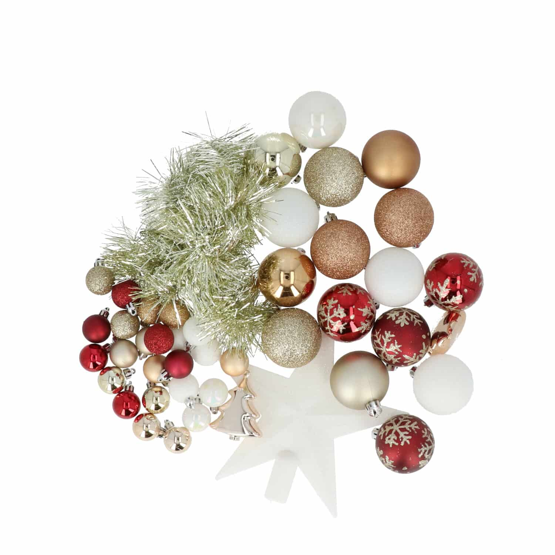 4goodz 44-delige decoratieve kerstballen Rood/Goud/Wit - binnen/buiten