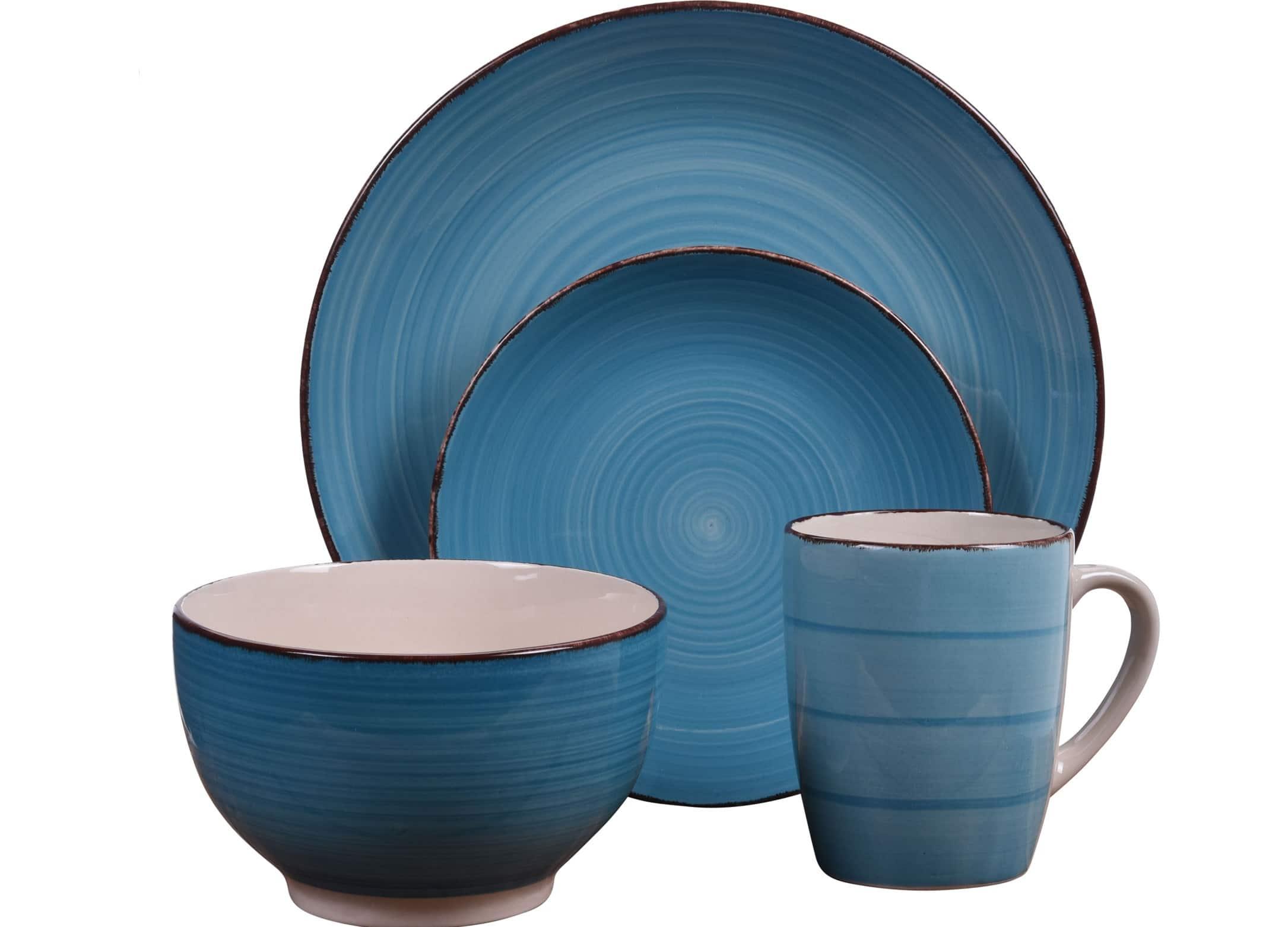4goodz aardewerk servies 4 personen / 16 delig - Blauw met beige
