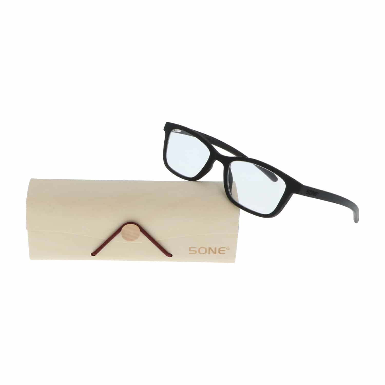 5one® Ebony Leesbril +1 - Houten Leesbril +1 met zwart montuur