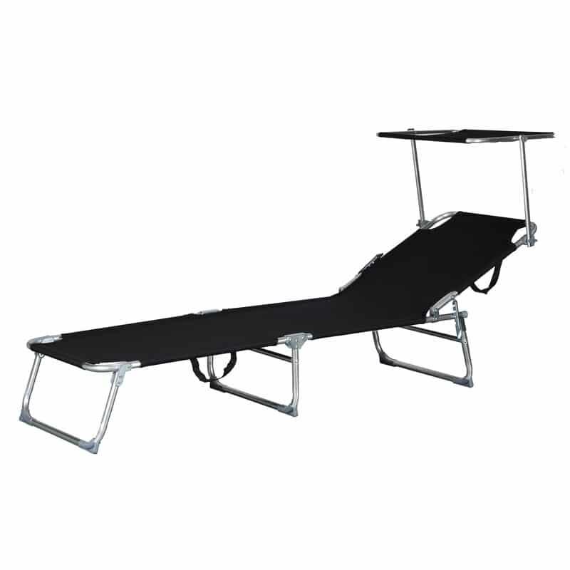 Comfortabel Aluminium Ligbed met Zonnendak 190x57 cm - Zwart