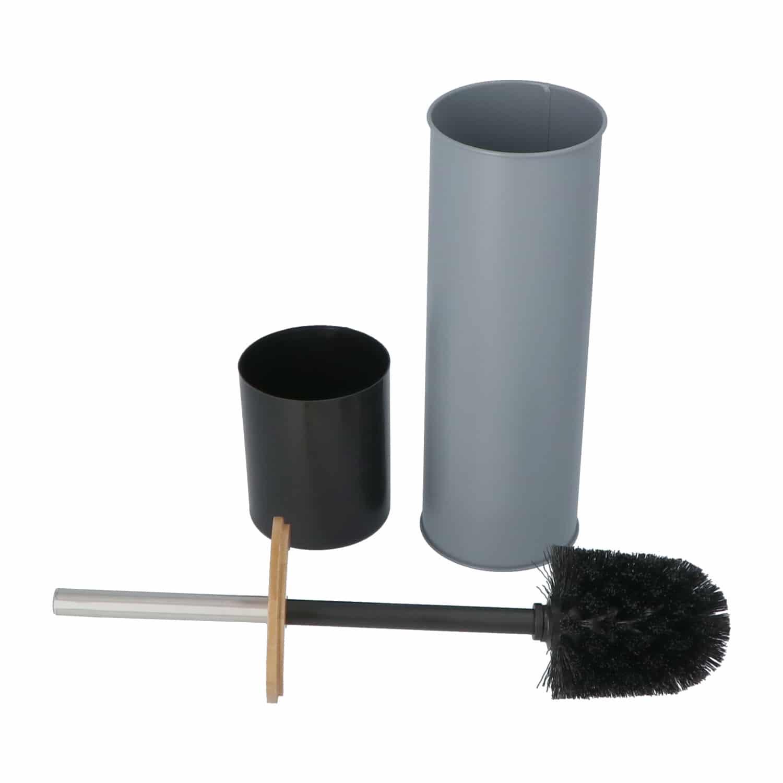 4Goodz metalen toiletborstelset met bamboe deksel - Grijs