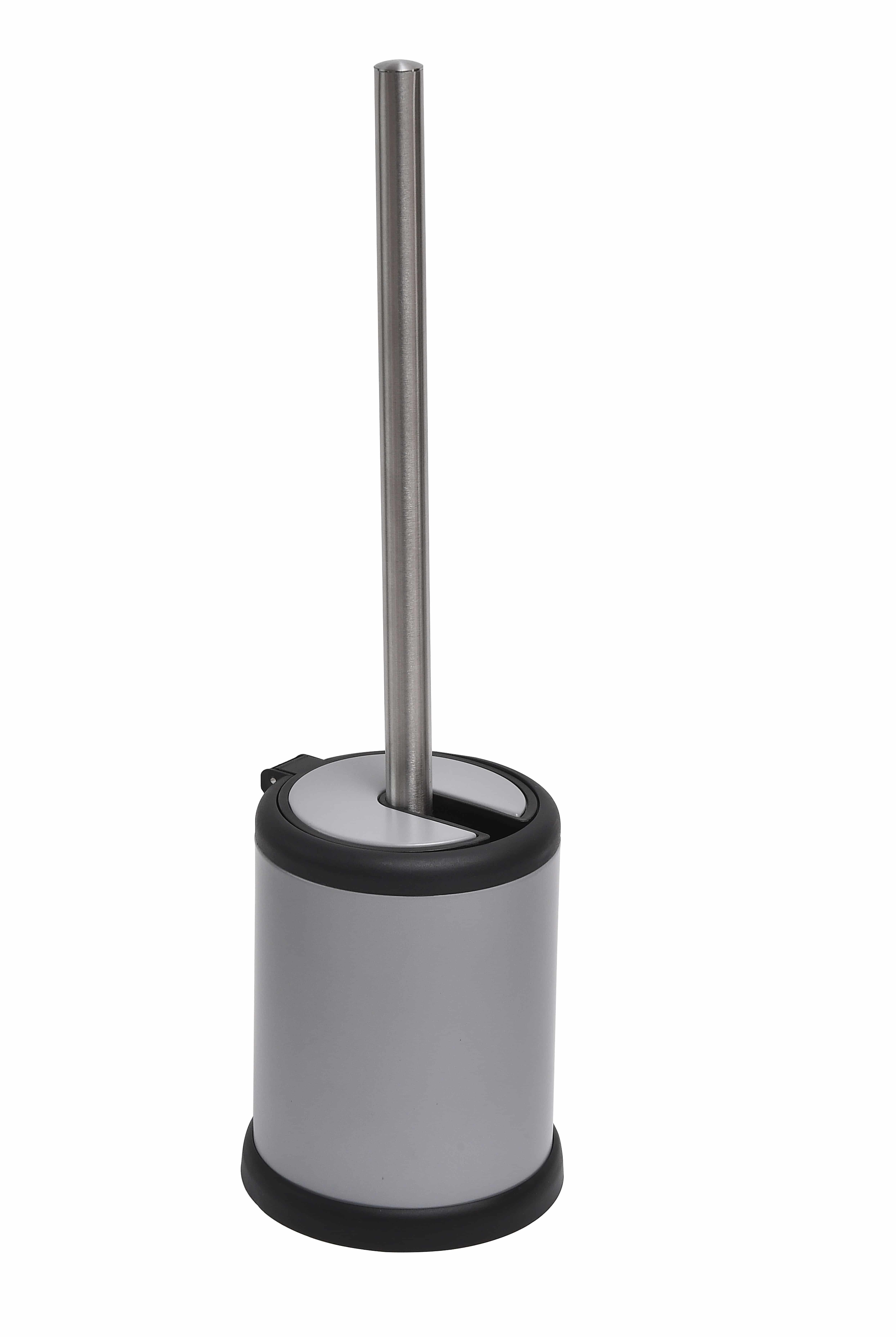 4goodz toiletborstel met klep - 11,5x39 cm - Mat Grijs