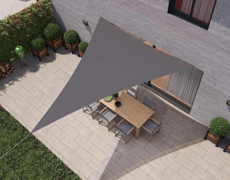hanSe® Schaduwdoek Driehoek Waterdoorlatend 3,5x3,5x4,95 m - Grijs