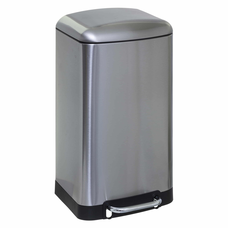 4goodz pedaalemmer 30 liter met uitneembare emmer 34x32x61cm - Zilver