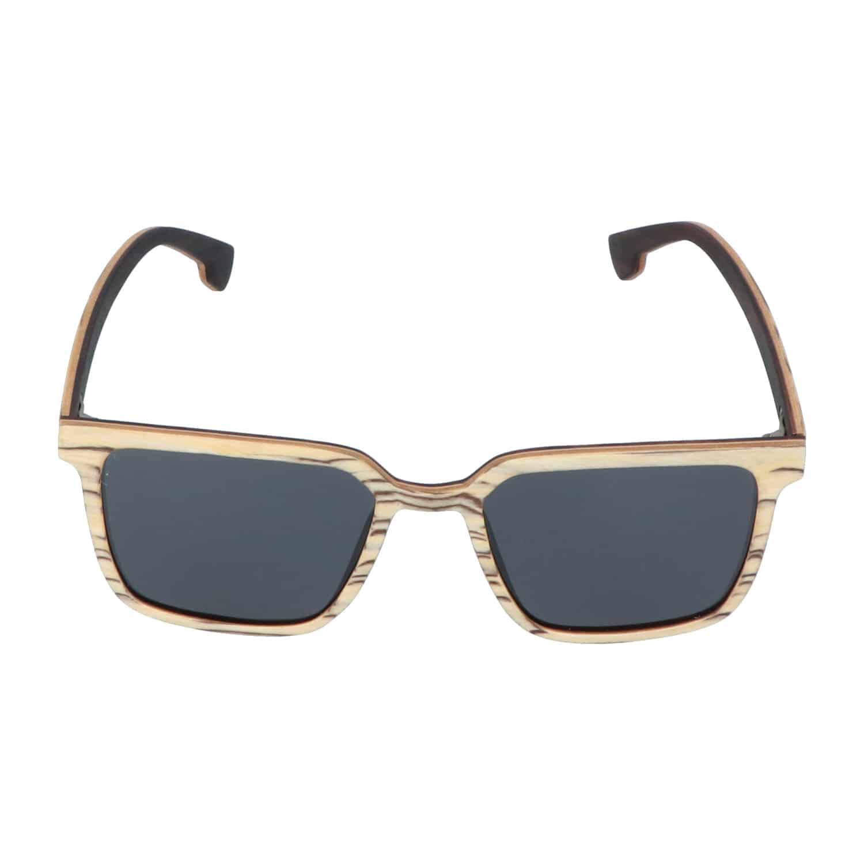 5one® Rimini Slimline White striped - Wit houten zonnebril met zwarte strepen