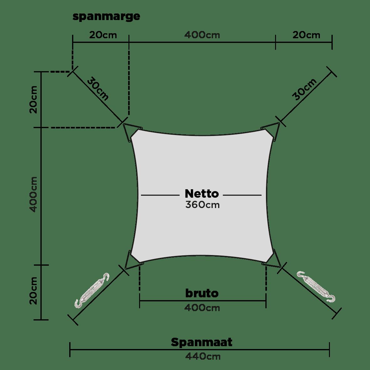hanSe® Schaduwdoek Vierkant Waterdicht 3,6x3,6 m - zonnedoek - Zand