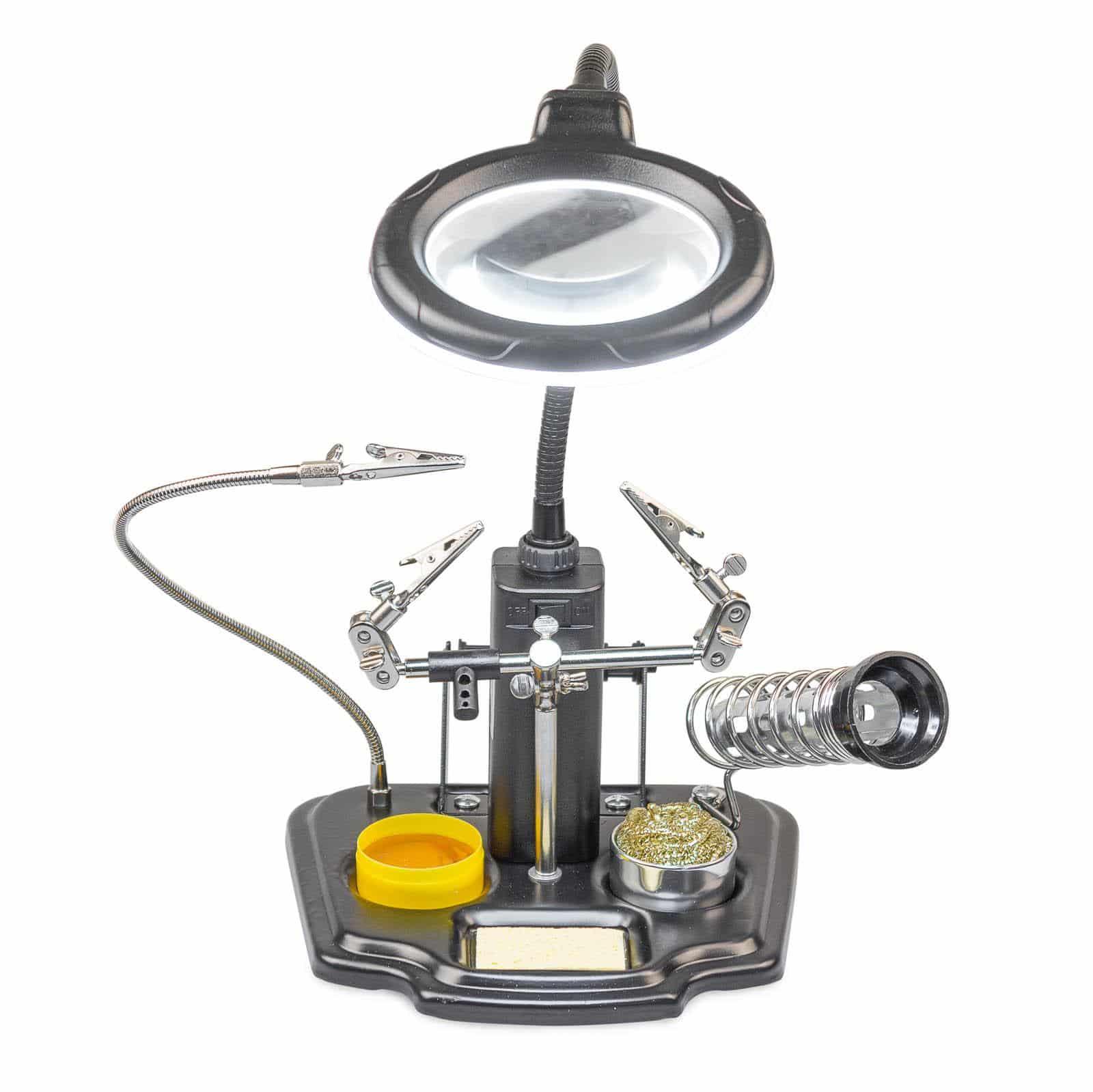 Hanse Werkzeuge Derde Hand combinatieset met LED - met vergrootglas