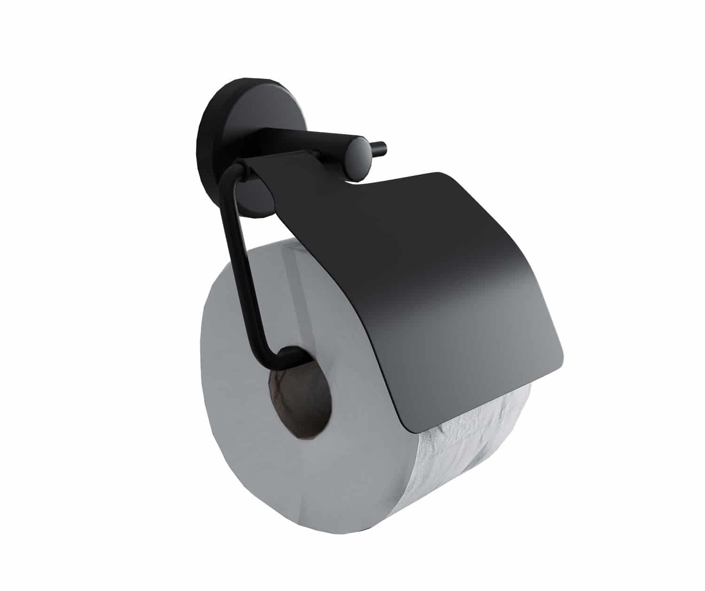 4bathroomz® Oslo toiletrolhouder met klep - WC rolhouder - Zwart
