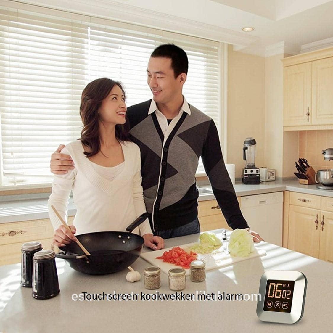 4cookz® Kookwekker met touchscreen - zilver - inclusief batterijen