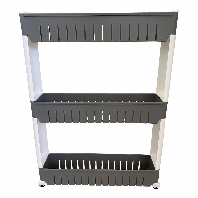 Keukenrek op wielen met 3 legvakken - 54x12x72 cm - grijs/Wit