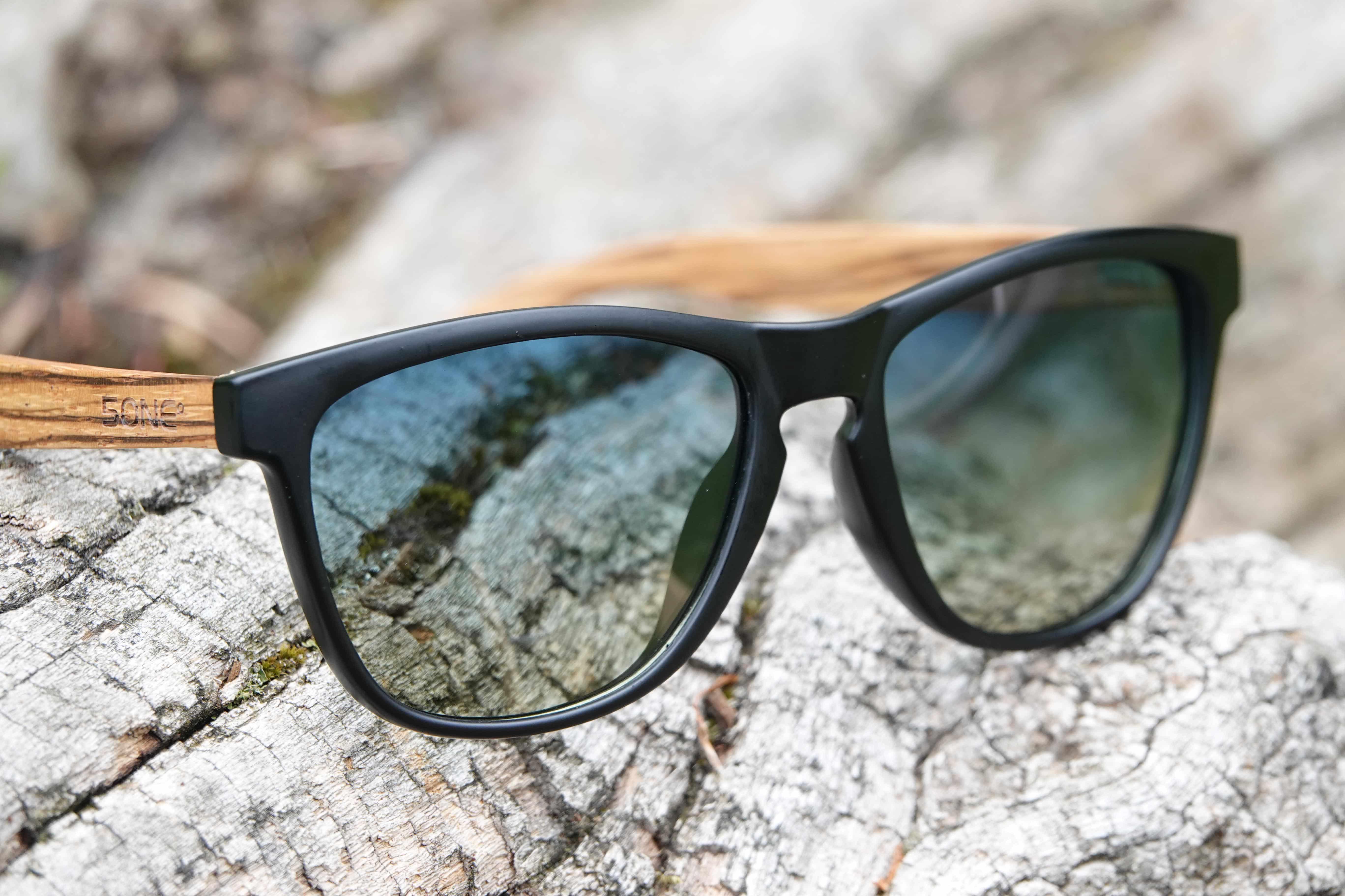5one® Java Black Matt - Blue/Yellow lens - zebra hout