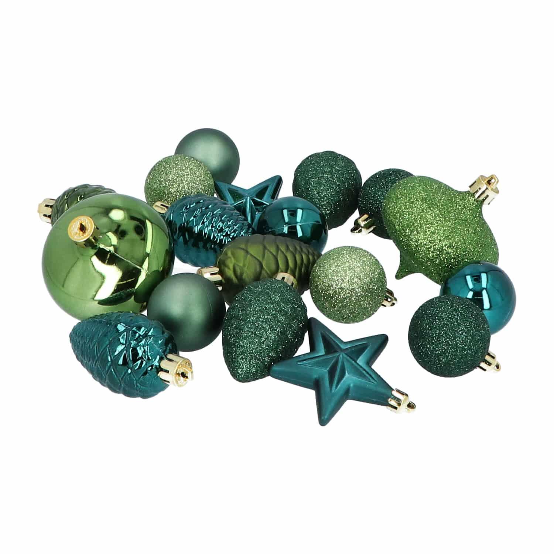 4goodz 18-delige decoratieve kerstballenset Groen - binnen- en buiten