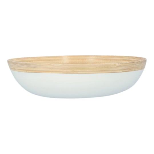 4goodz Bamboe Fruitschaal Saladeschaal 23x6 cm - Wit