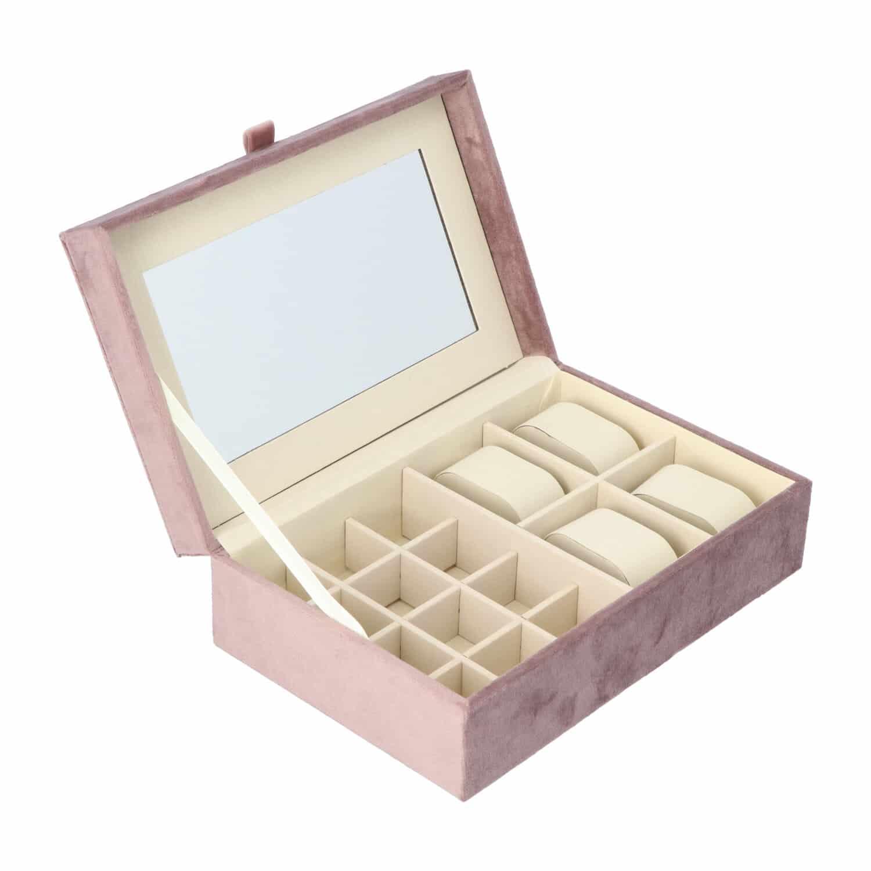 4goodz Velours Sieraden en Horloge Bewaardoos 25x16x7 cm - Oud Roze