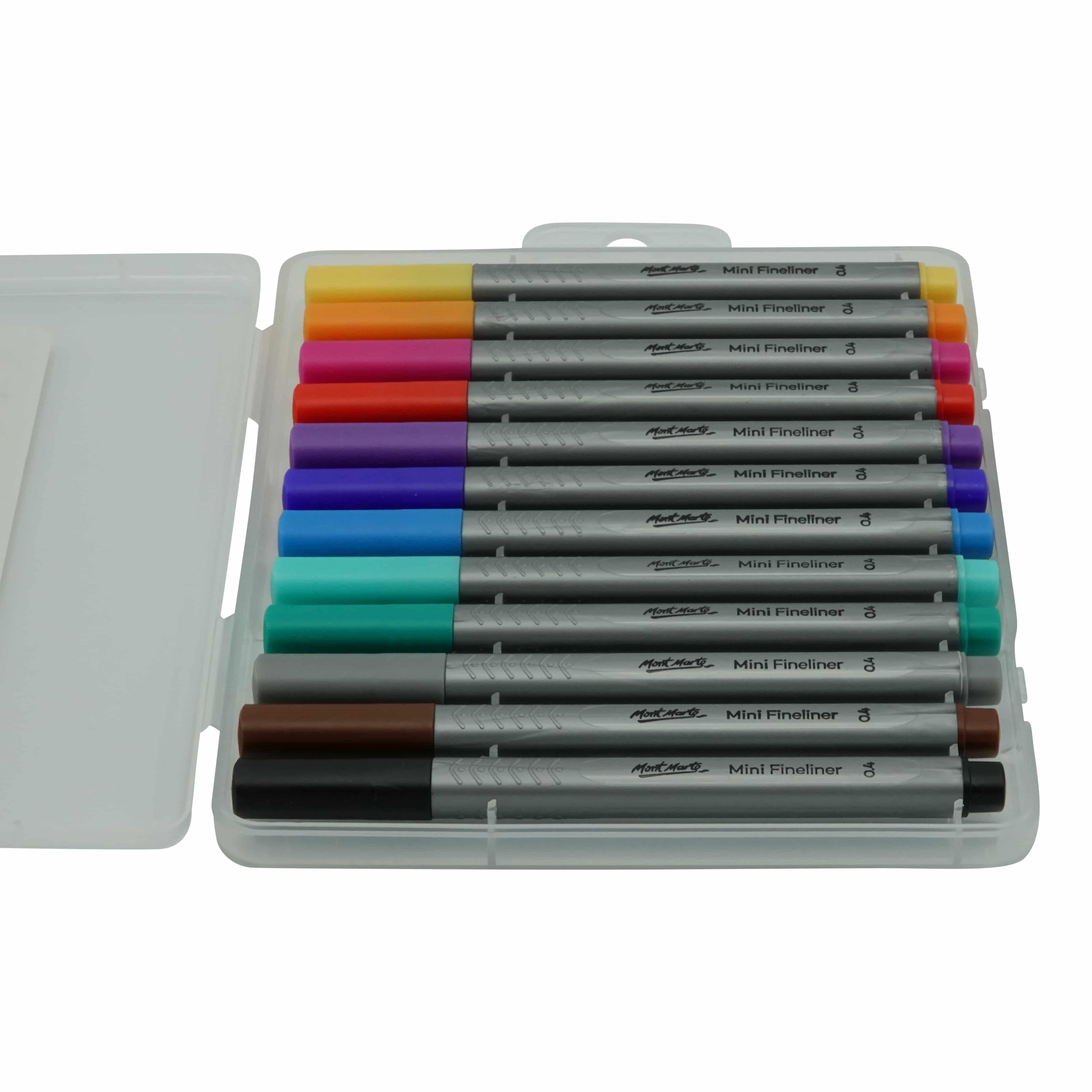 Mont Marte® set van 12 kleuren mini fineliners - 0,4mm punt
