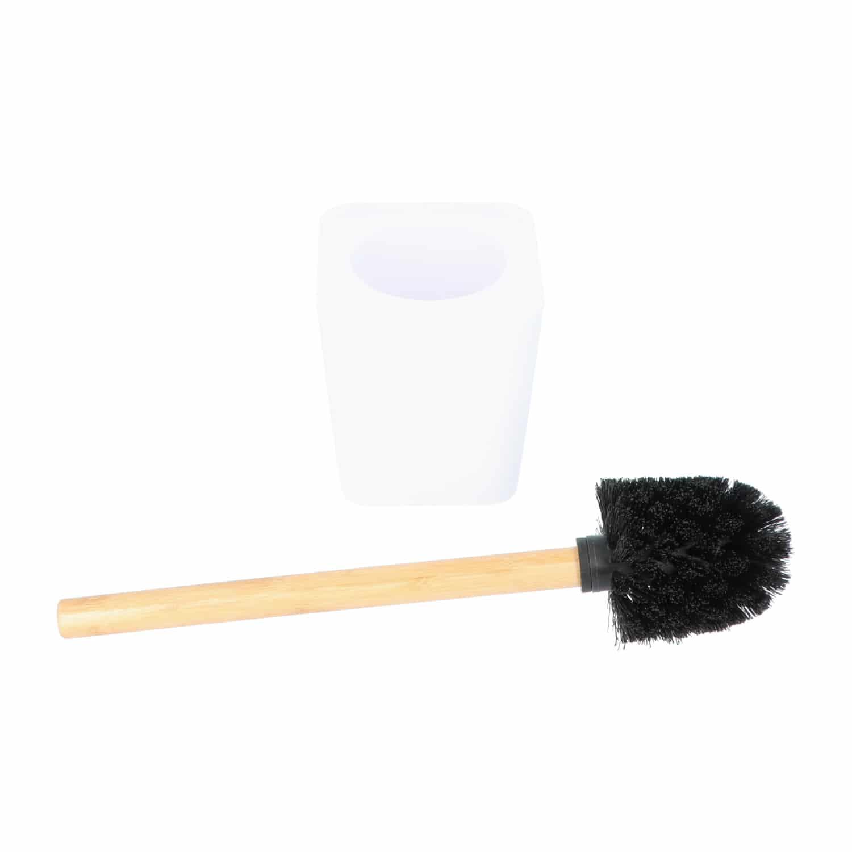 4goodz kunststof Toiletborstel met Bamboe steel - wit/bruin