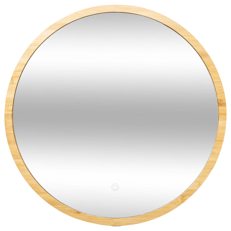 4goodz bamboe Spiegel Rond met LED verlichting 57 cm doorsnede - Bruin