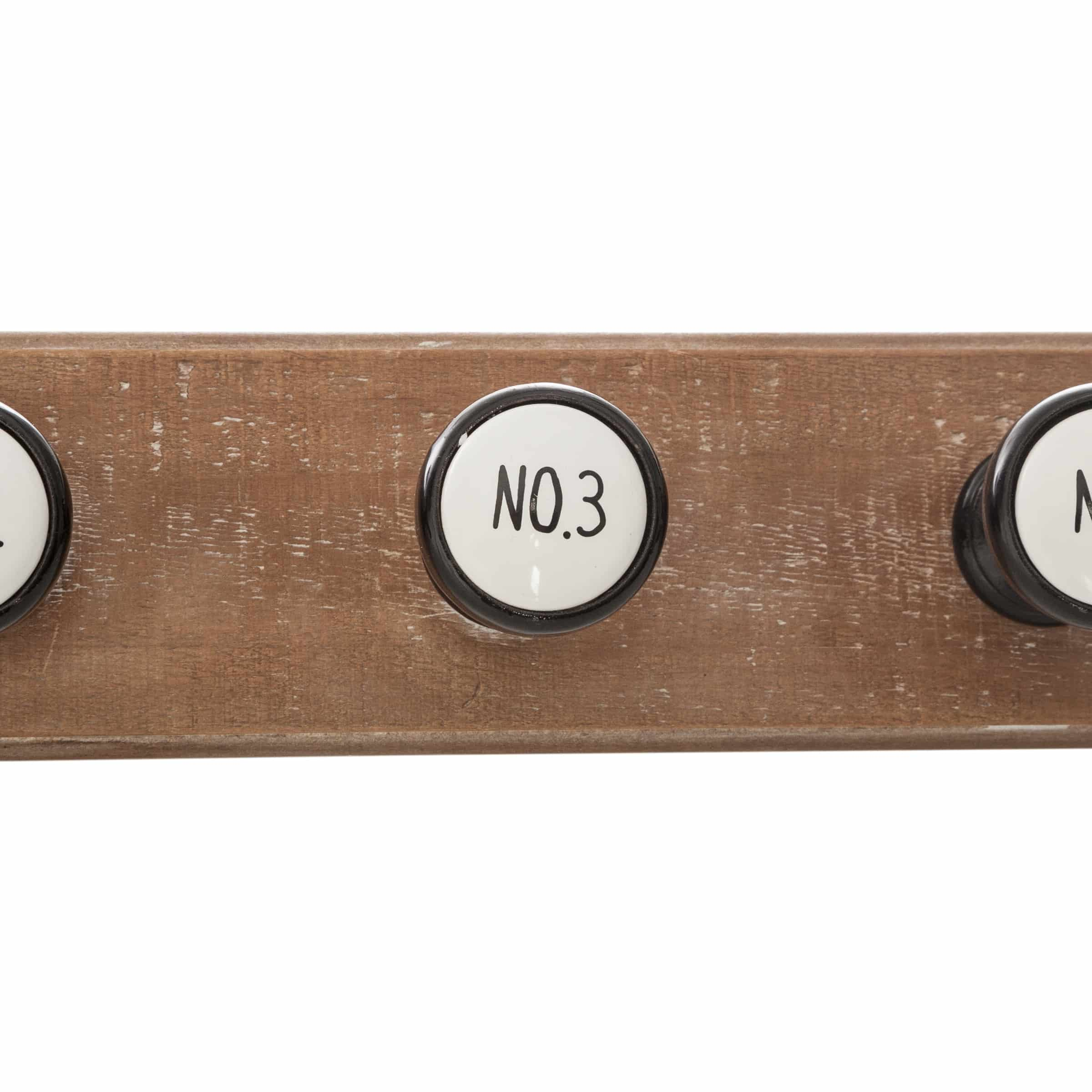 4goodz Classic Kapstok met 6 klassieke keramieke haken 66x9x8cm