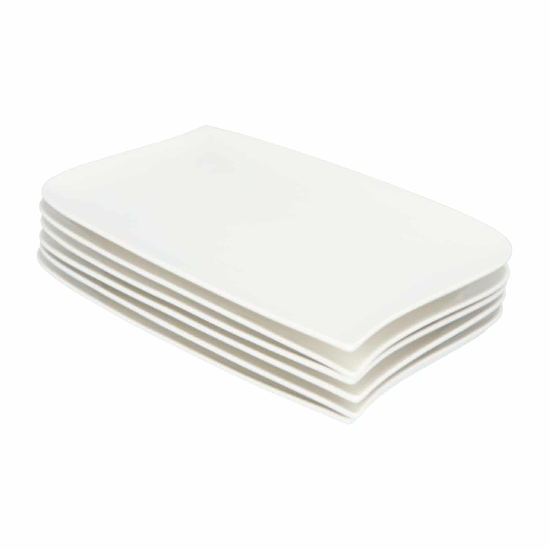4goodz Wave 6x Porseleinen Dinerborden XL Rechthoek 33x21 cm - Wit