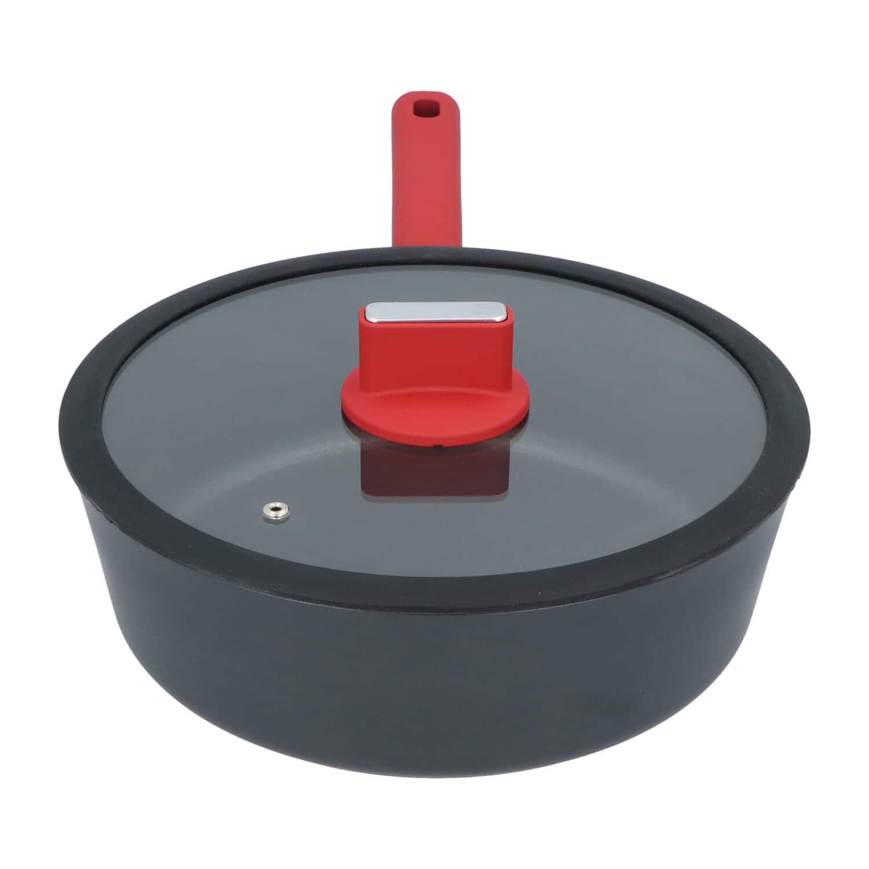 4goodz Aluminium Hapjespan met siliconen handvat 28 cm - zwart/rood