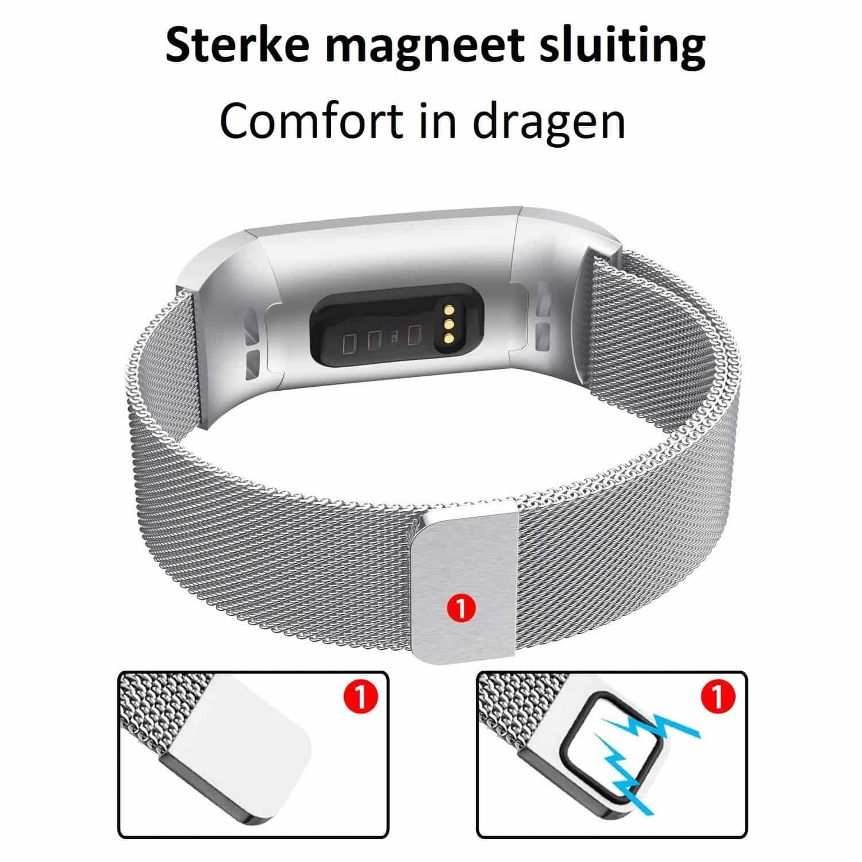4mobilez® Fitbit Charge 3 horlogeband Milanese Silver - magneetsluiting