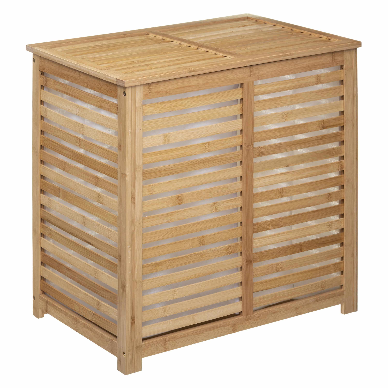4goodz Bamboe wasmand met 2 vakken en deksel 60x40x58 cm - Bruin
