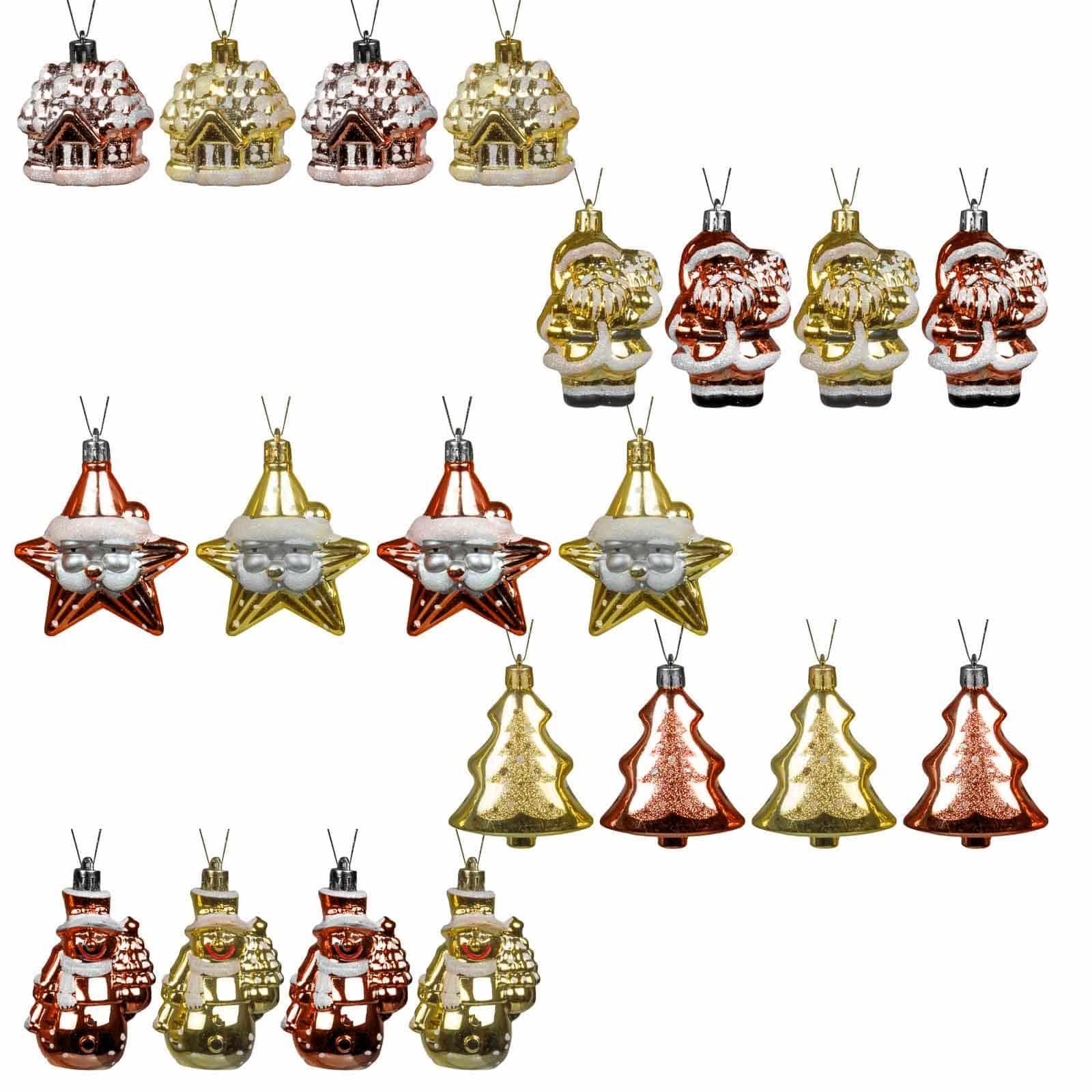 Decoratieve Kerstballenset 20 stuks - goud/bordeaux -binnen en buiten