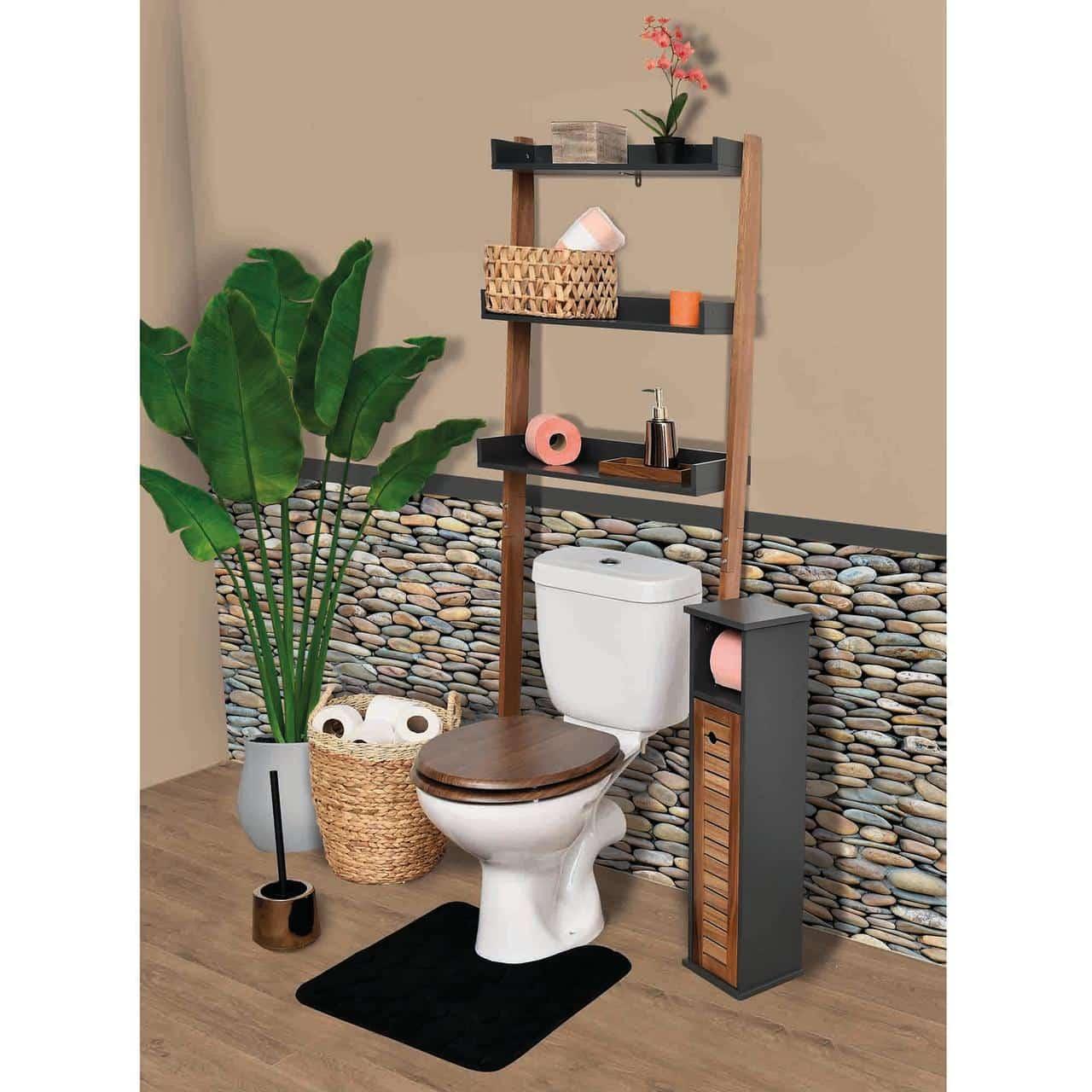 4goodz Toiletombouw Acacia met 3 schappen 60x22,5x166,5cm - Bruin