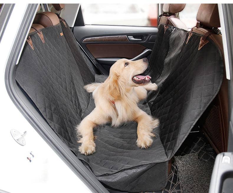4animalz® grote Waterproof Hondendeken voor de auto - Zwart gewatteerd