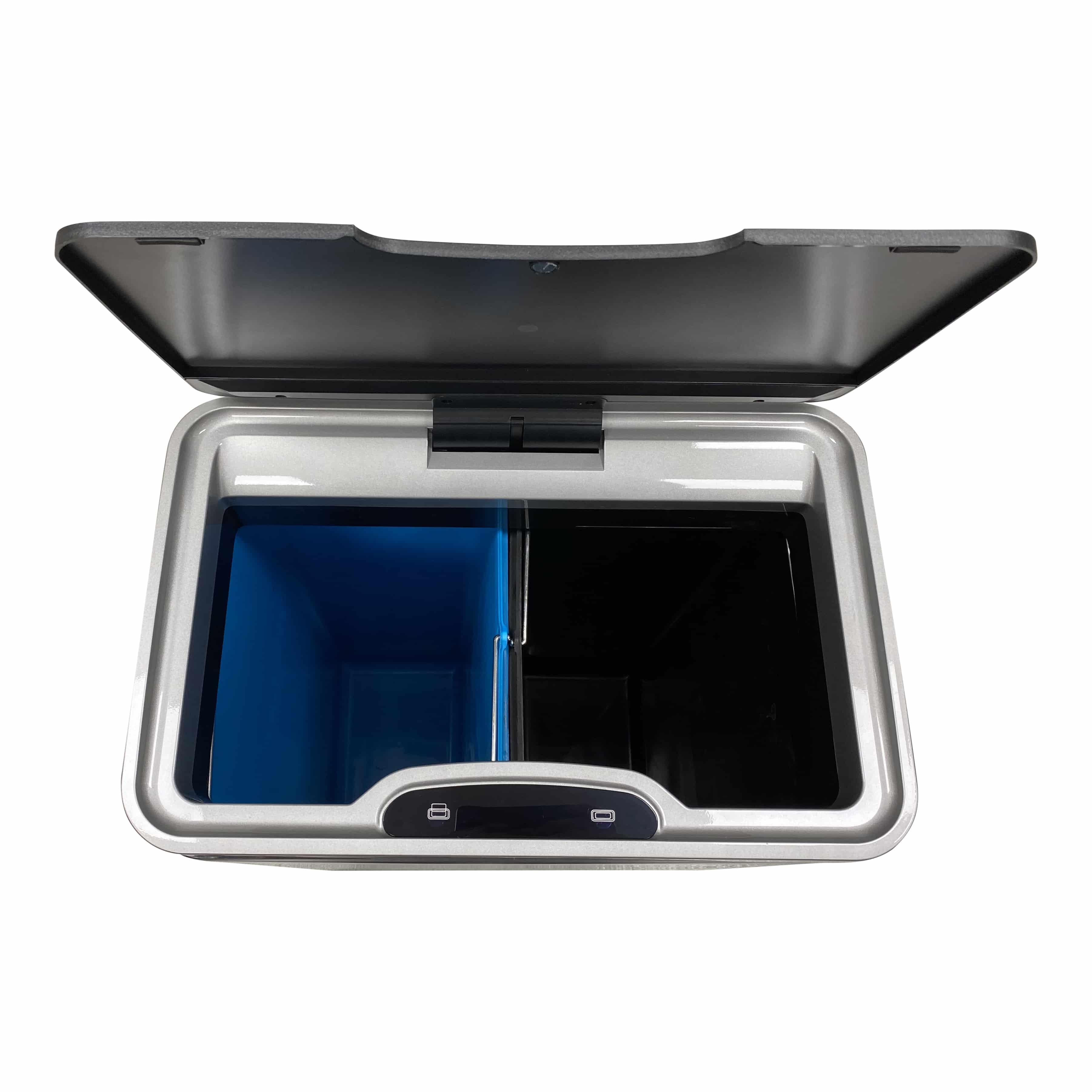 4cookz® Iowa Duo sensor afvalscheidingsprullenbak 2x 22 L - mat RVS
