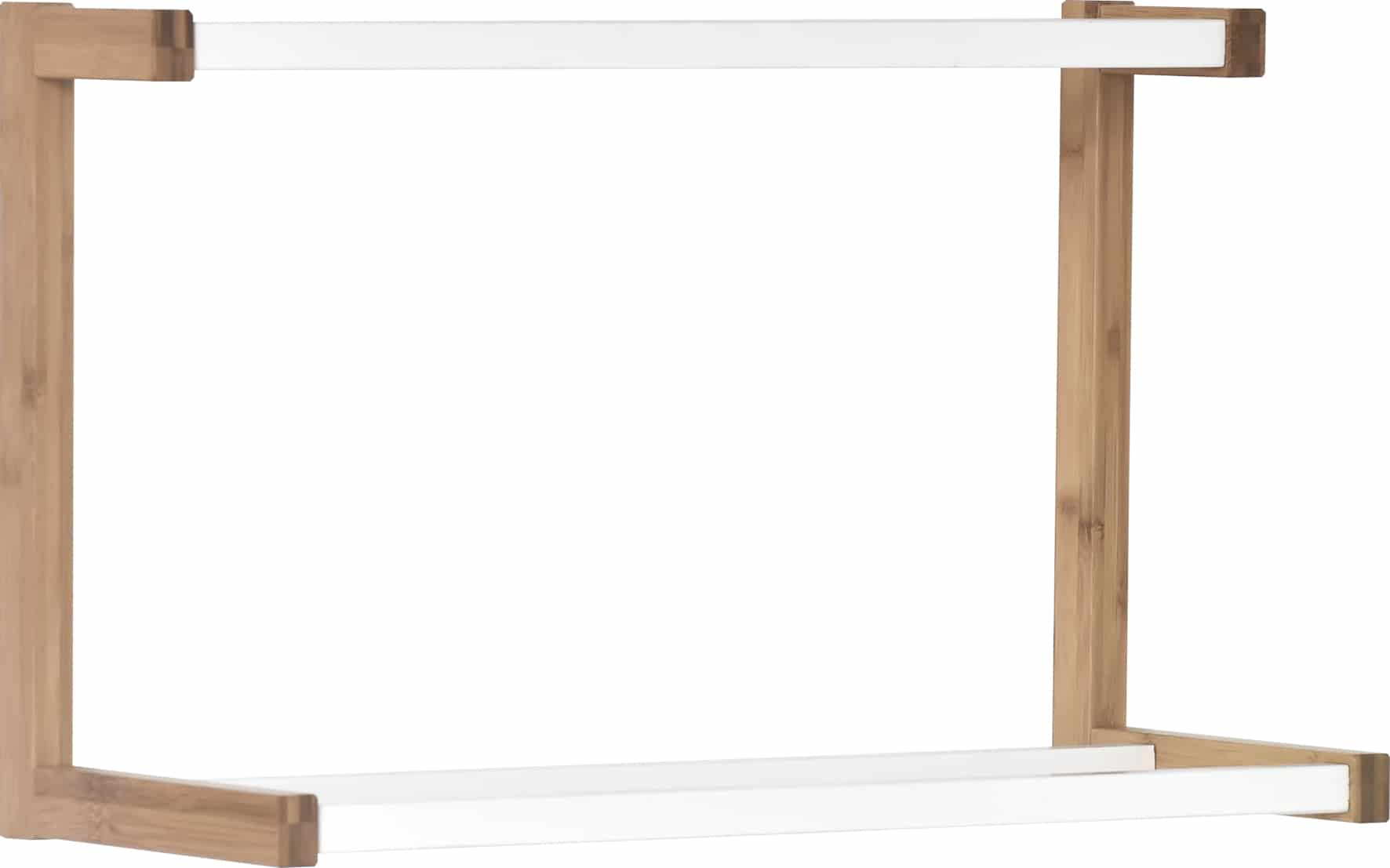 4goodz Bamboe/MDF Handdoek Wandrek 3 beugels 23x55x35 cm - Bruin/Wit