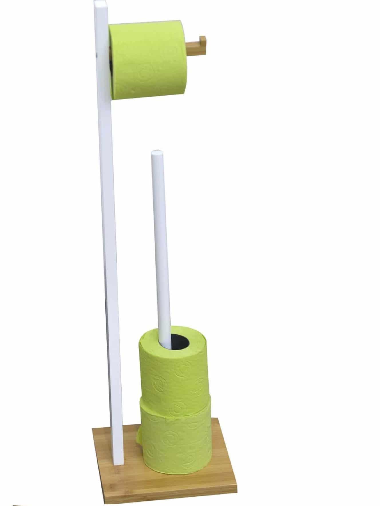 Bamboe Toiletrolhouder met Reserverolhouder - 19x19x71 cm - Wit/Bruin